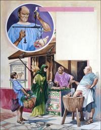 A Roman Butchers Shop art by Peter Jackson
