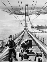 Building a Suspension Bridge art by Bill Lacey