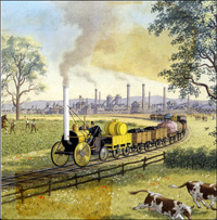 Stephenson's Rocket art by Ronald Lampitt