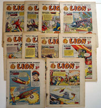 Collection of 10 Lion comics 1952