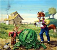 Brer Rabbit - Watermelon in Easter Hay art by Virginio Livraghi