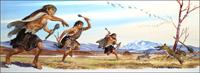 Neanderthal Boys Hunting Rabbits. art by Bernard Long