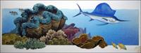 Giant Clam and Sailfish art by Bernard Long