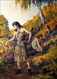 Cro Magnon Women Gathering Food art by Bernard Long