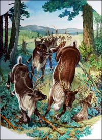 Reindeer Hunt art by Bernard Long