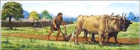 Neolithic Man Ploughing art by Bernard Long