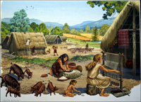 Neolithic Settlement art by Bernard Long