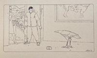 The Rose Bird- Line Drawing Screenprint art by Moebius (Jean Giraud)