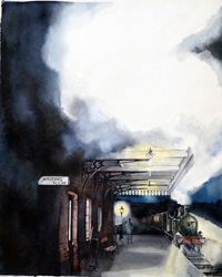 The Ghost Now Standing on Platform One book cover art art by Kim Palmer