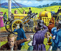 Stephenson's Rocket art by Roger Payne