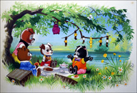 Jolly Dogs Picnic Time art by William Francis Phillipps