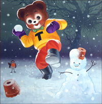 Teddy Bear and the Snowman art by William Francis Phillipps