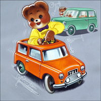 Teddy Bear - Fast Cars art by William Francis Phillipps