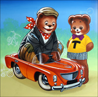 Teddy Bear - Brand New Cadillac art by William Francis Phillipps