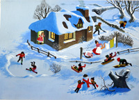 Christmas Playtime double page art by William Francis Phillipps