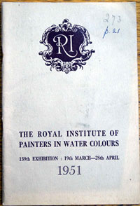 The Royal Institute of Painters in Water Colours<br>Exhibition Catalogue 1951