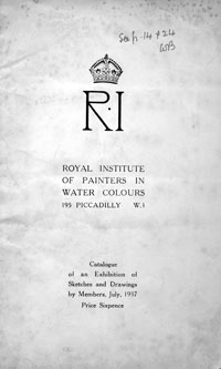 The Royal Institute of Painters in Watercolours (Exhibition Catalogue July 1937)