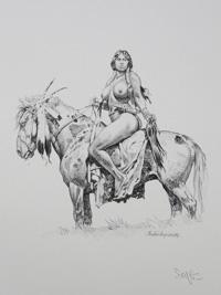 Indian Warrior on Horseback art by Paolo Serpieri