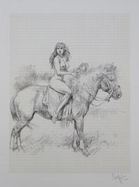 Nude on Horseback Sketchbook page art by Paolo Serpieri