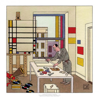 A Portrait of Piet Mondrian art by Joost Swarte