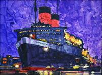 RMS Queen Elizabeth art by Ferdinando Tacconi
