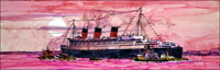 RMS Queen Mary art by Ferdinando Tacconi