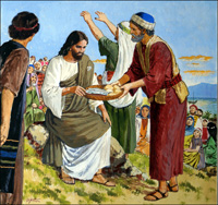 Jesus - The Miracle of Feeding the Five Thousand art by Clive Uptton