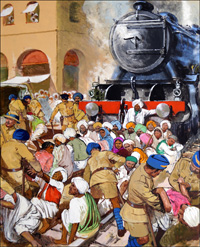 Peaceful Protest in India art by Clive Uptton