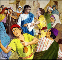 Jesus and the Penitent Thieves art by Clive Uptton