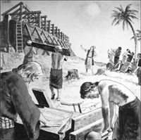 Noah Builds The Ark art by Clive Uptton