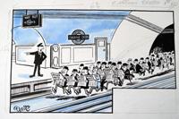 Political cartoon original from the Daily Sketch art by Keith Waite