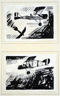 Two Aeroplane Sketches art by Charles Clixby Watson