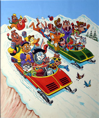 Harold Hare Downhill Racer art by Peter Woolcock